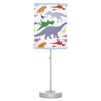 Teste padrão colorido do dinossauro (luz) luminária de mesa