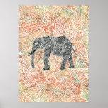 Teste padrão colorido do Henna do elefante tribal  Posters