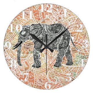 Teste padrão colorido do Henna do elefante tribal Relógios Para Pendurar