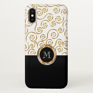 Teste padrão colorido do monograma ouro elegante capa para iPhone x