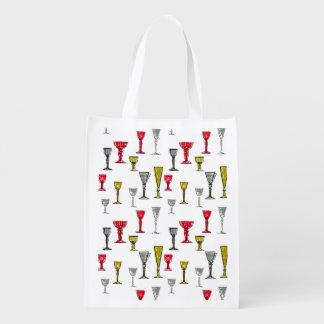 Teste padrão colorido dos vidros de vinho sacola ecológica