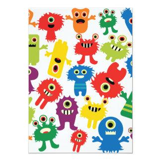 Teste padrão colorido engraçado bonito dos monstro convite 12.7 x 17.78cm