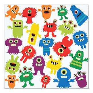 Teste padrão colorido engraçado bonito dos monstro convite quadrado 13.35 x 13.35cm