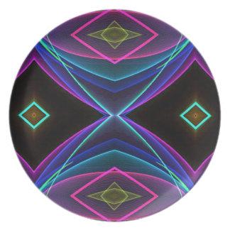 Teste padrão colorido fluorescente de néon Funky Prato De Festa
