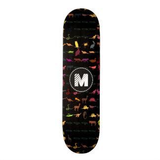 Teste padrão colorido retro #5 dos animais do shape de skate 20,6cm