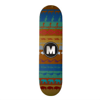 Teste padrão colorido retro #6 dos animais do shape de skate 19,7cm