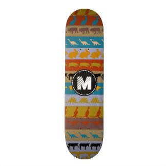 Teste padrão colorido retro #8 dos animais do shape de skate 19,7cm