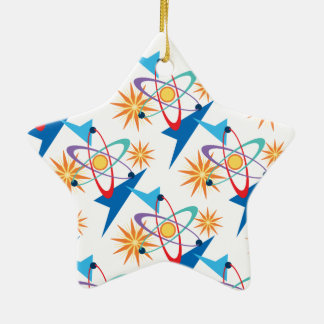Teste padrão colorido retro da era espacial ornamento de cerâmica estrela
