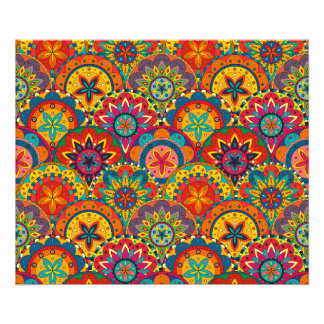 Teste padrão colorido retro Funky da mandala Impressão De Foto