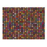 teste padrão colorido retro legal dos quadrados cartão postal