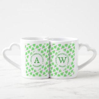 Teste padrão colorido verde do feriado da árvore conjunto de caneca de café