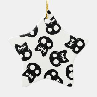 Teste padrão cómico do preto do crânio ornamento de cerâmica estrela