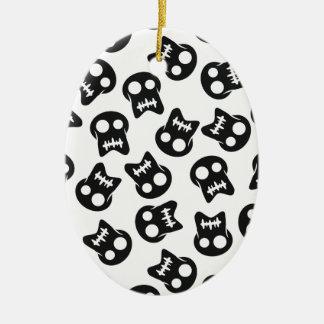 Teste padrão cómico do preto do crânio ornamento de cerâmica oval