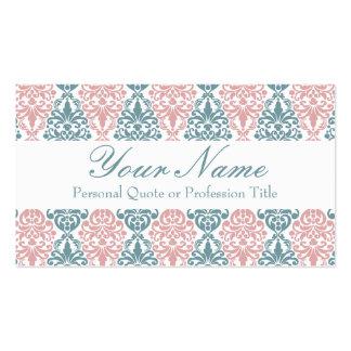 Teste padrão cor-de-rosa azul do laço do damasco cartão de visita