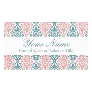 Teste padrão cor-de-rosa azul do laço do damasco d cartões de visitas