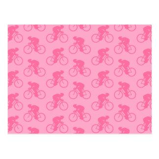 Teste padrão cor-de-rosa da bicicleta cartão postal
