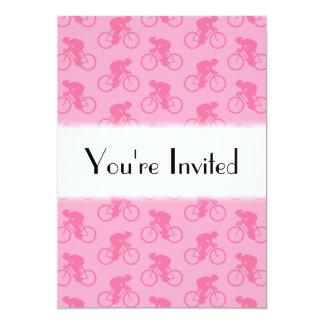Teste padrão cor-de-rosa da bicicleta convite 12.7 x 17.78cm