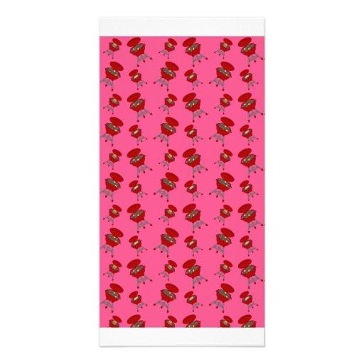 teste padrão cor-de-rosa do assado cartões com fotos personalizados
