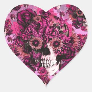Teste padrão cor-de-rosa do crânio do ohm do adesivo coração