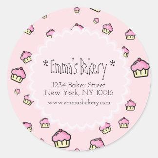Teste padrão cor-de-rosa do cupcake - etiqueta adesivo