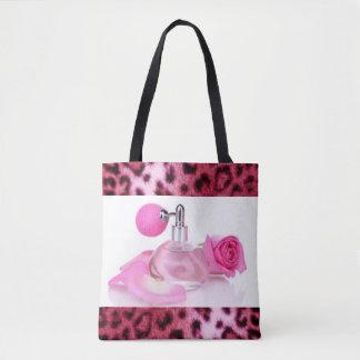 Teste padrão cor-de-rosa do impressão do leopardo bolsa tote