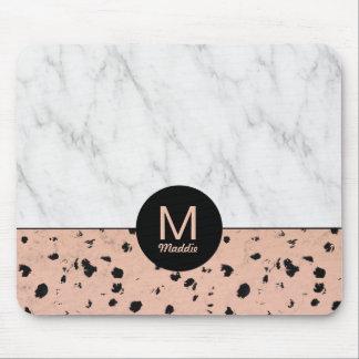 Teste padrão cor-de-rosa do ouro e do mármore do mouse pad