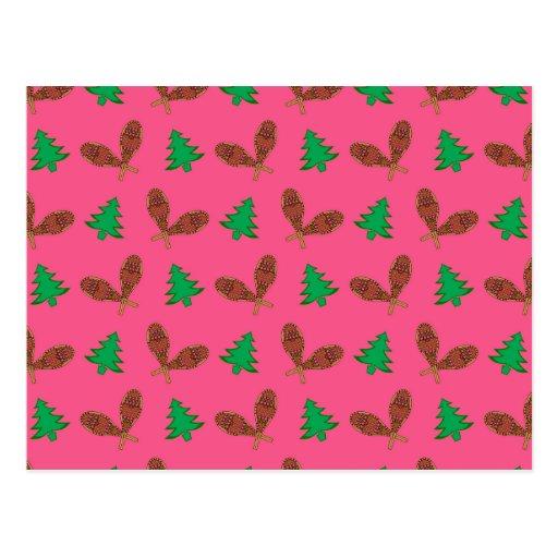 Teste padrão cor-de-rosa do sapato de neve cartao postal