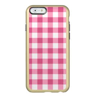 Teste padrão cor-de-rosa e branco da verificação capa incipio feather® shine para iPhone 6
