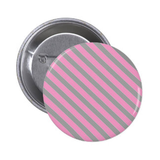 Teste padrão cor-de-rosa e cinzento das listras bóton redondo 5.08cm