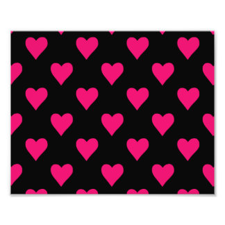 Teste padrão cor-de-rosa e preto bonito do coração impressão de foto