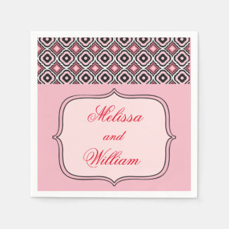 Teste padrão cor-de-rosa e preto guardanapo de papel