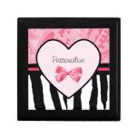 Teste padrão cor-de-rosa e preto na moda da zebra  caixa de presente