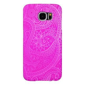 Teste padrão cor-de-rosa elegante de Paisley Capas Samsung Galaxy S6