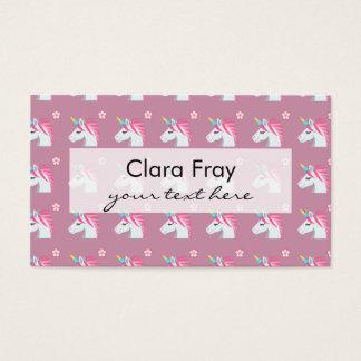 Teste padrão cor-de-rosa feminino bonito de Emoji Cartão De Visitas