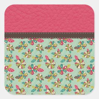 Teste padrão cor-de-rosa feminino retro com couro adesivo quadrado