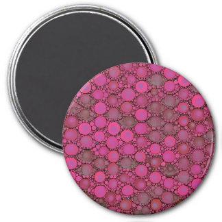 Teste padrão cor-de-rosa fluorescente da bolha ímã redondo 7.62cm