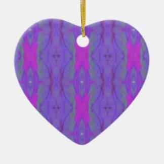 Teste padrão cor-de-rosa fluorescente do chique da ornamento de cerâmica coração