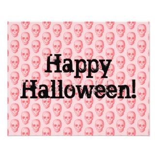 Teste padrão cor-de-rosa o Dia das Bruxas do crâni Panfleto Personalizado