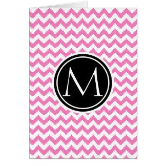 Teste padrão cor-de-rosa persa com monograma cartão de nota