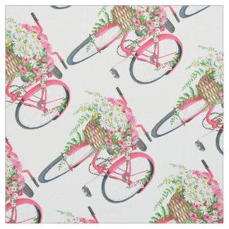 Teste padrão cor-de-rosa retro da bicicleta da tecido