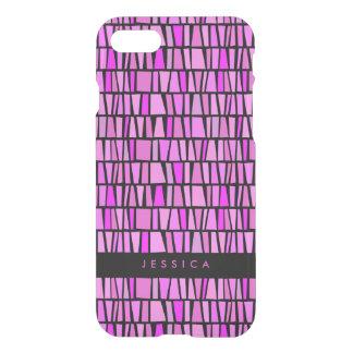 Teste padrão cor-de-rosa tribal do dominó capa iPhone 7
