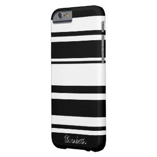 Teste padrão corajoso da listra com nome - branco capa barely there para iPhone 6
