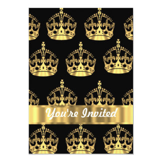 Teste padrão da coroa do ouro no preto convite 12.7 x 17.78cm