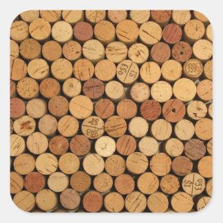 Teste padrão da cortiça do vinho adesivo quadrado
