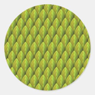 Teste padrão da folha da selva adesivos redondos