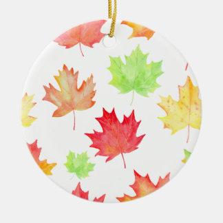 Teste padrão da folha de bordo da aguarela ornamento de cerâmica redondo
