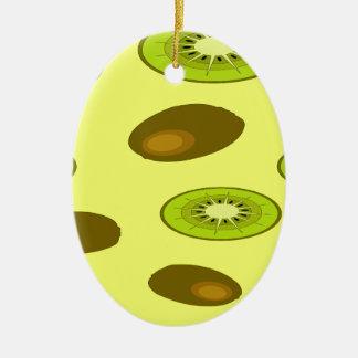 Teste padrão da fruta de quivi ornamento de cerâmica oval