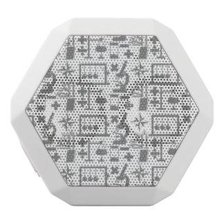 Teste padrão da matemática da geografia da física caixa de som branca com bluetooth