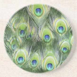 Teste padrão da pena do pavão porta copos de arenito
