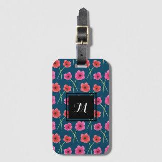 Teste padrão da pintura da aguarela da flor da etiqueta de bagagem